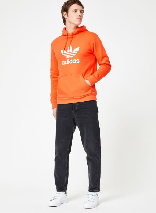 Vêtements adidas originals Trefoil Hoodie Orange vue bas / vue portée sac