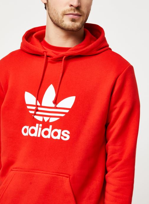 Vêtements adidas originals Trefoil Hoodie Rouge vue face