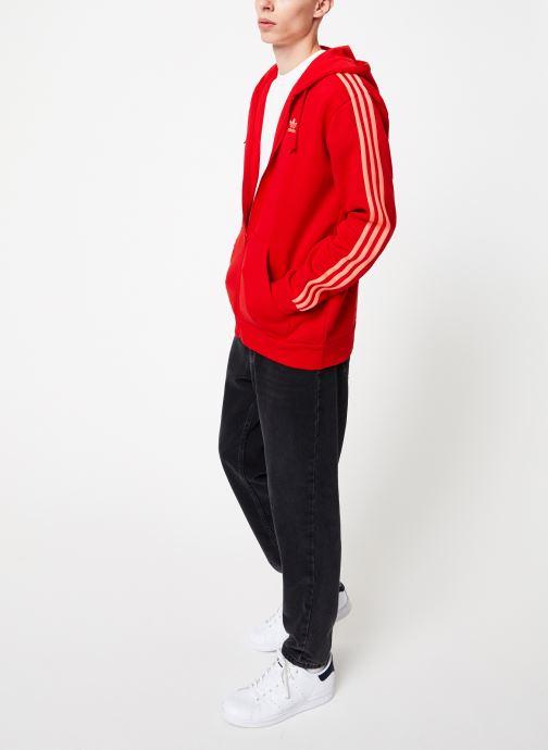 Vêtements adidas originals 3-Stripes Fz Rouge vue bas / vue portée sac
