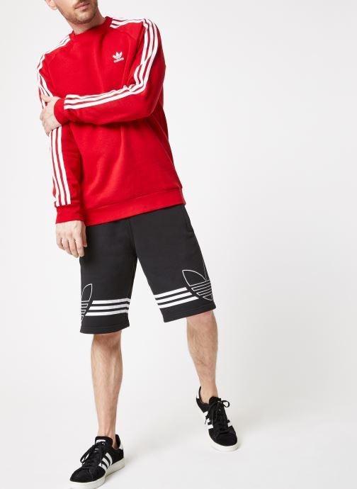 Vêtements adidas originals 3-Stripes Crew Rouge vue bas / vue portée sac