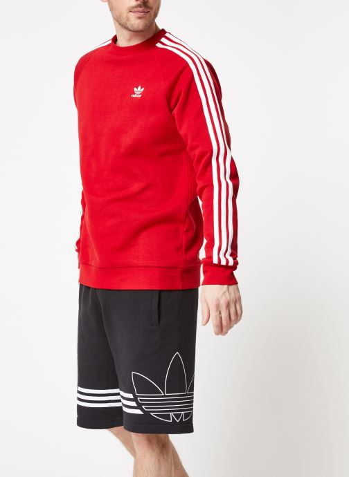 Vêtements adidas originals 3-Stripes Crew Rouge vue droite
