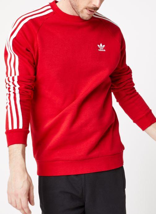 Vêtements adidas originals 3-Stripes Crew Rouge vue détail/paire