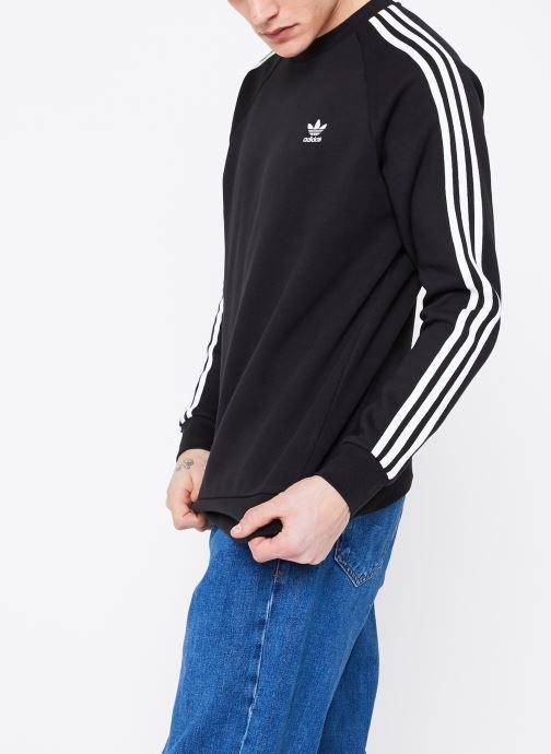 Vêtements adidas originals 3-Stripes Crew Noir vue droite