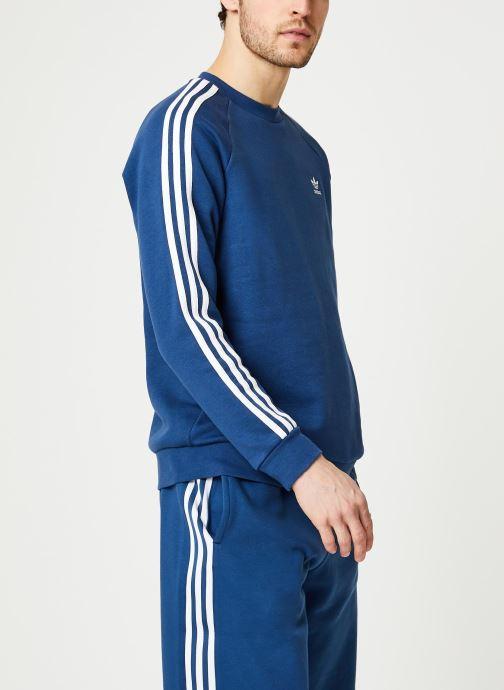 Vêtements adidas originals 3-Stripes Crew Bleu vue droite