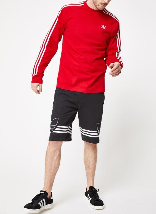 Vêtements adidas originals 3-Stripes Ls T Rouge vue bas / vue portée sac