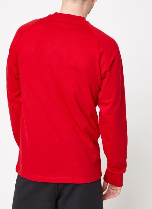 Vêtements adidas originals 3-Stripes Ls T Rouge vue portées chaussures