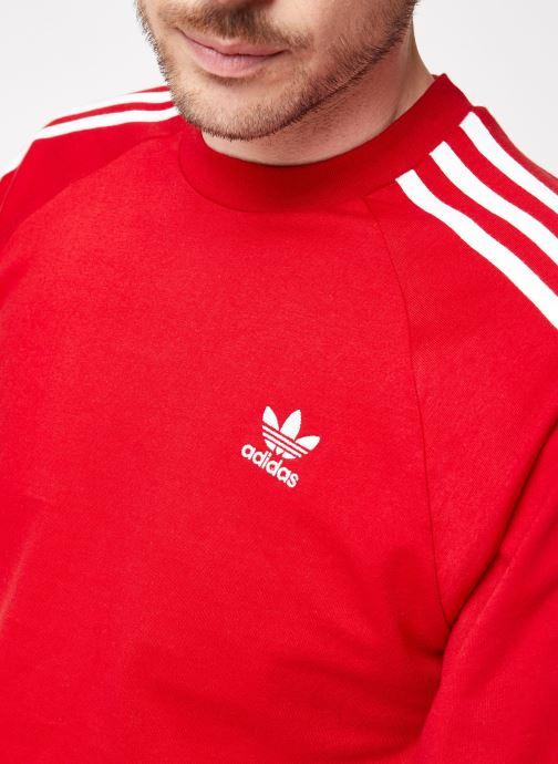 Vêtements adidas originals 3-Stripes Ls T Rouge vue face