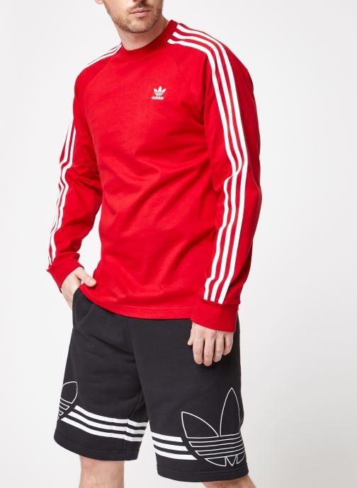 Vêtements adidas originals 3-Stripes Ls T Rouge vue droite
