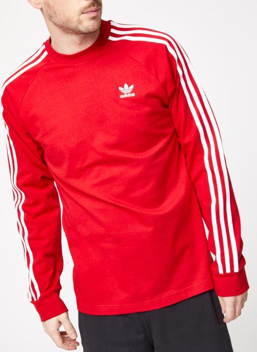 Vêtements adidas originals 3-Stripes Ls T Rouge vue détail/paire