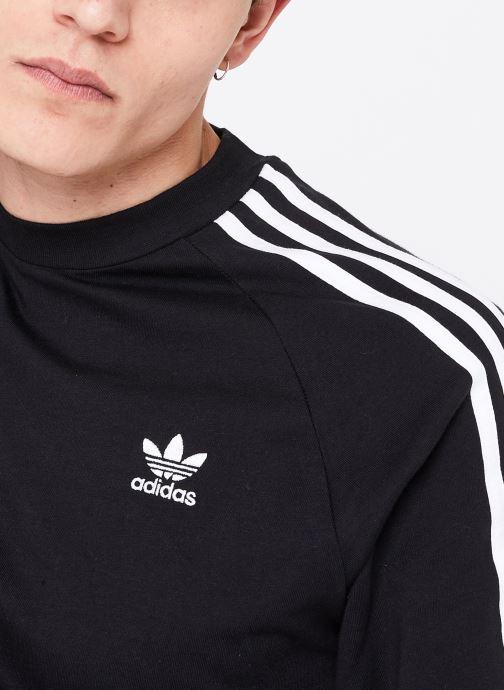 Vêtements adidas originals 3-Stripes Ls T Noir vue face