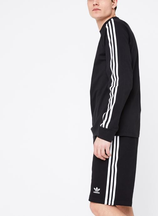 Vêtements adidas originals 3-Stripes Ls T Noir vue droite