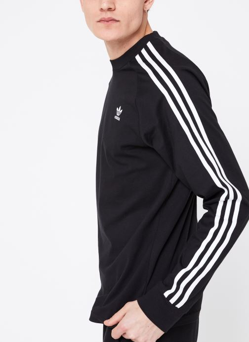 Kleding adidas originals 3-Stripes Ls T Zwart detail