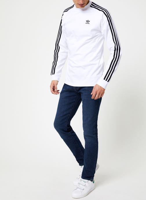 Vêtements adidas originals 3-Stripes Ls T Blanc vue bas / vue portée sac