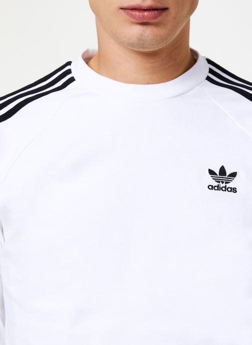 Vêtements adidas originals 3-Stripes Ls T Blanc vue face