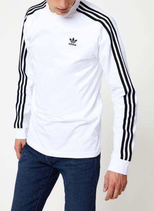 Vêtements adidas originals 3-Stripes Ls T Blanc vue droite