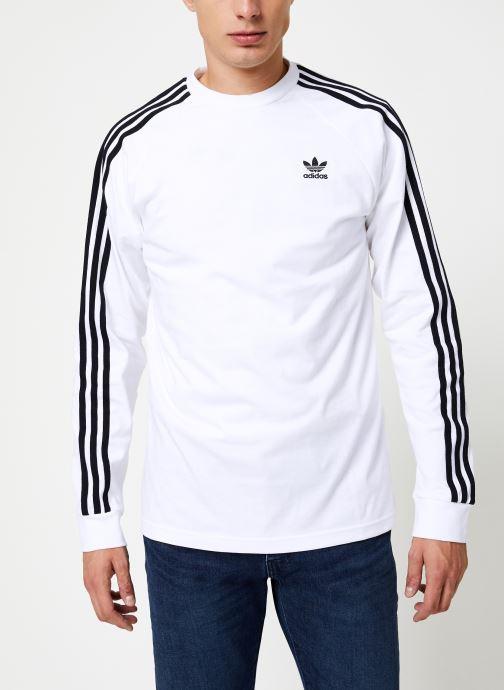 Tøj adidas originals 3-Stripes Ls T Hvid detaljeret billede af skoene