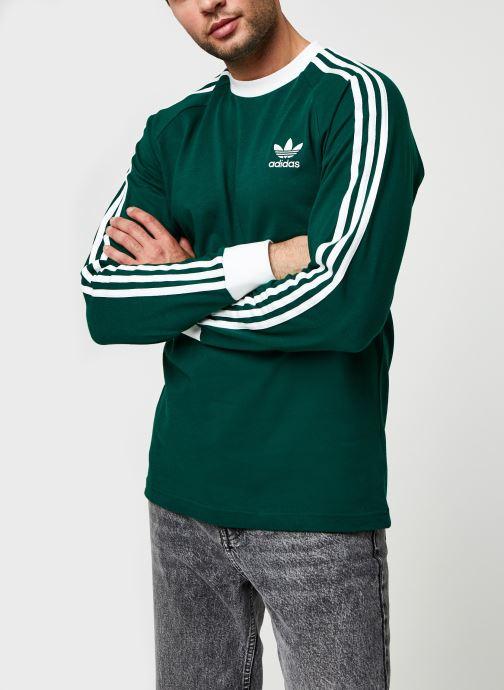 Vêtements adidas originals 3-Stripes Ls T Vert vue droite
