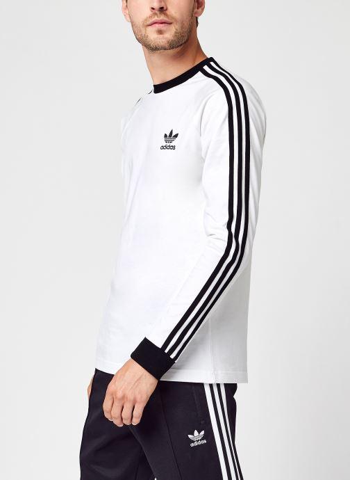 Vêtements adidas originals 3-Stripes Ls T Blanc vue détail/paire