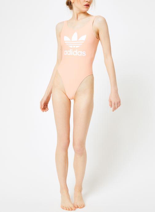 Vêtements adidas originals Trf Swimsuit Rose vue bas / vue portée sac