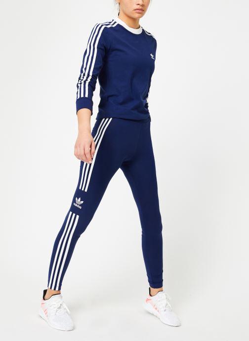 Kleding adidas originals 3 Stripes Ls Tee Blauw onder