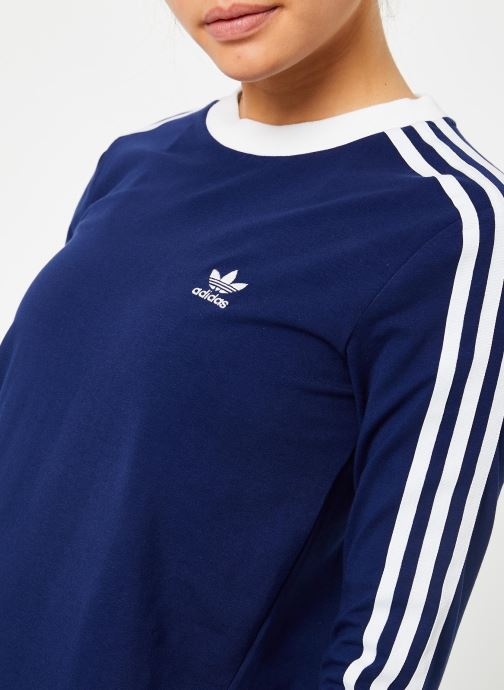 Kleding adidas originals 3 Stripes Ls Tee Blauw voorkant
