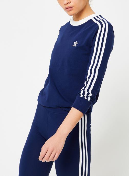 Kleding adidas originals 3 Stripes Ls Tee Blauw rechts