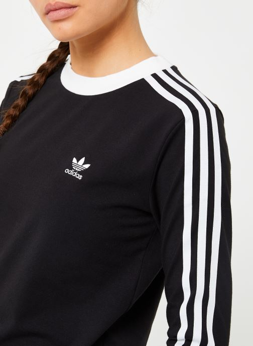 Kleding adidas originals 3 Stripes Ls Tee Zwart voorkant