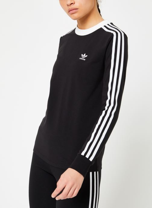 Kleding adidas originals 3 Stripes Ls Tee Zwart rechts