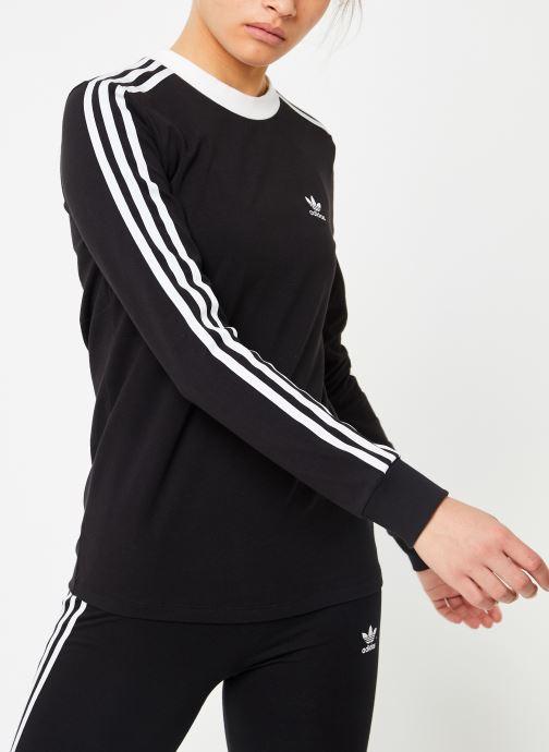 Kleding adidas originals 3 Stripes Ls Tee Zwart detail