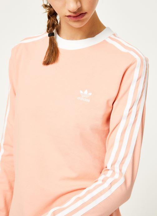 Kleding adidas originals 3 Stripes Ls Tee Roze voorkant