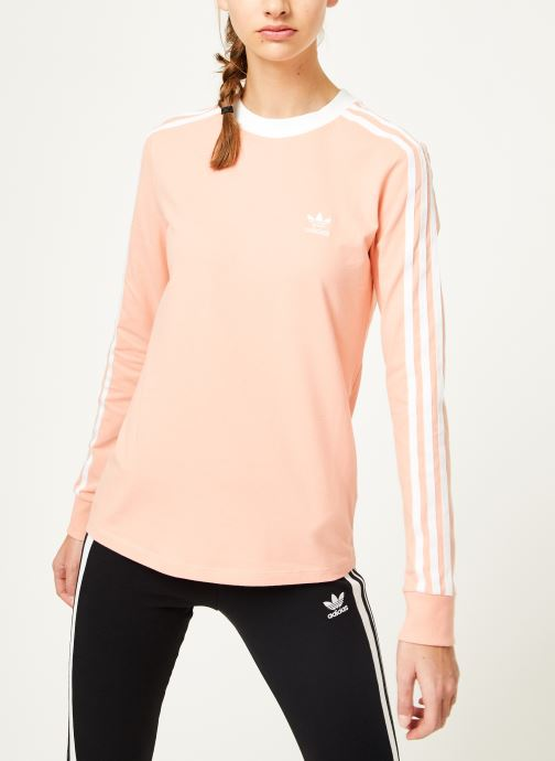 Kleding adidas originals 3 Stripes Ls Tee Roze rechts