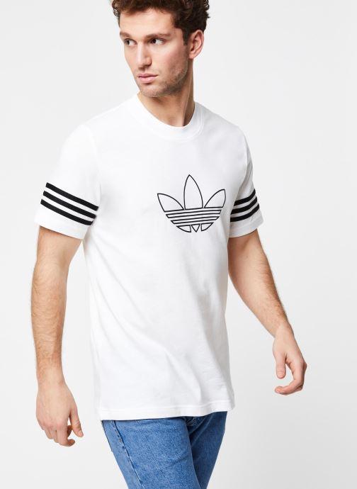 Vêtements adidas originals Outline Tee Blanc vue détail/paire