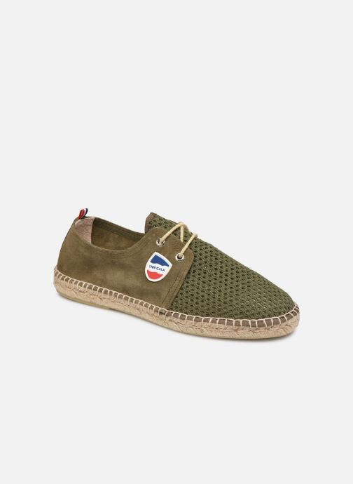 Espadrilles 1789 CALA Riviera Mix Leather M-C Green detailed view/ Pair view