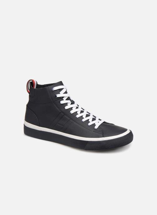 Baskets Tommy Hilfiger Unlined Mid Cut Leather Sneaker Noir vue détail/paire