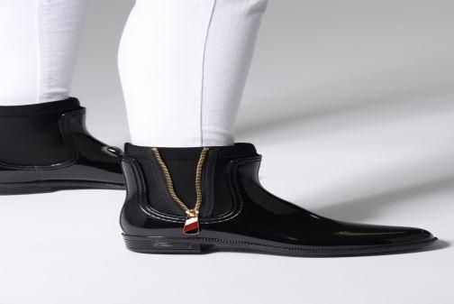 Stiefeletten & Boots Tommy Hilfiger Material Mix Rain Boot schwarz ansicht von unten / tasche getragen