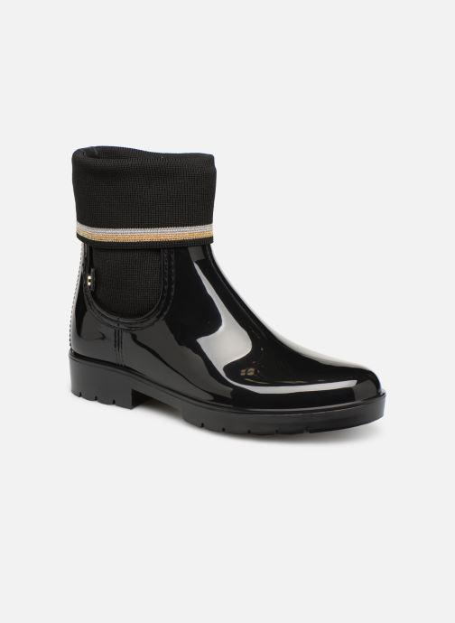 Ankelstøvler Tommy Hilfiger Knitted Sock Rain Boot Sort detaljeret billede af skoene
