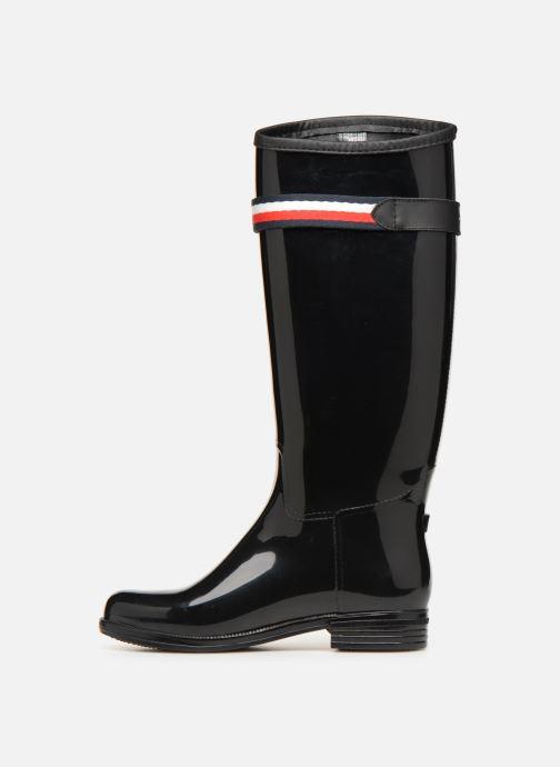 Stiefel Tommy Hilfiger Corporate Belt Long Rain Boot schwarz ansicht von vorne