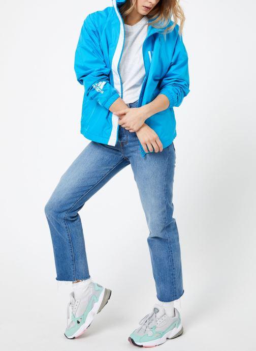 Vêtements adidas performance W WND JKT FL Bleu vue bas / vue portée sac