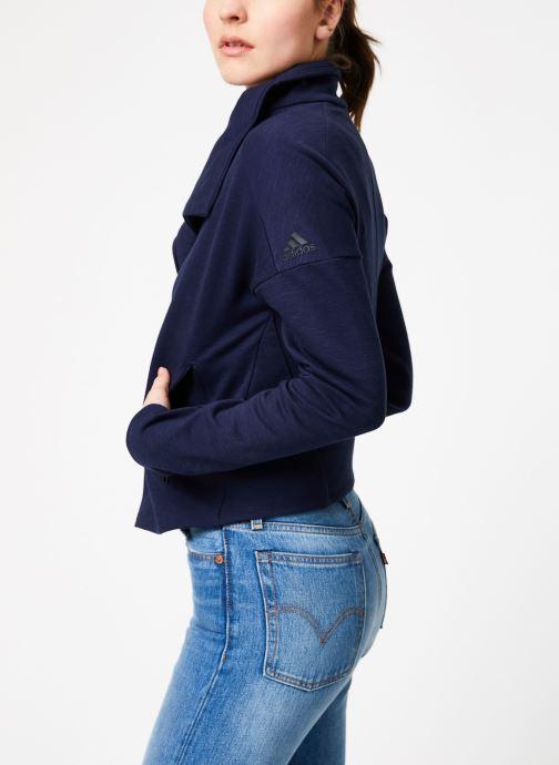 Vêtements adidas performance W HTR Jkt Bleu vue droite