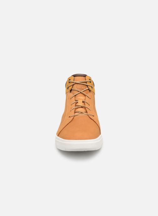 Sneakers Timberland Davis Square Leather Chk M Marrone modello indossato