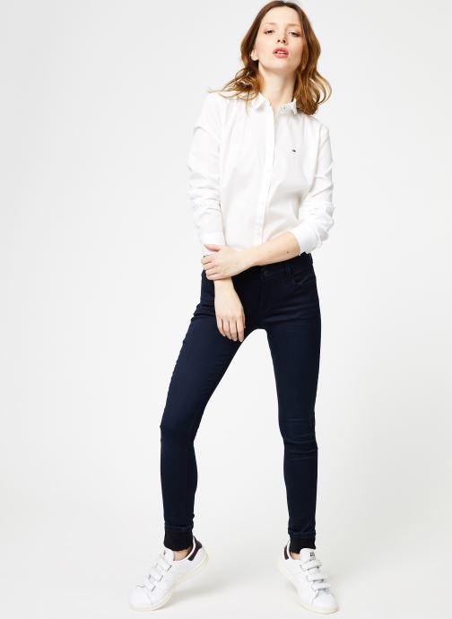 Vêtements Tommy Jeans TJW ORIGINAL STRETCH SHIRT Blanc vue bas / vue portée sac