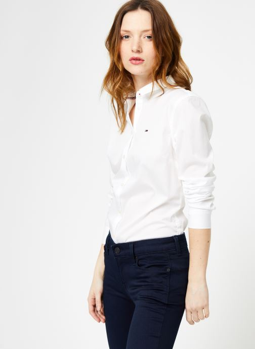 Vêtements Tommy Jeans TJW ORIGINAL STRETCH SHIRT Blanc vue droite