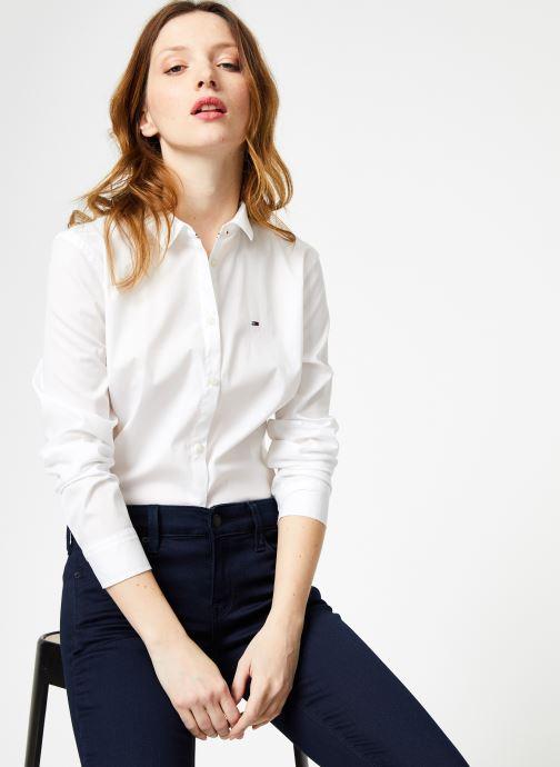 Vêtements Tommy Jeans TJW ORIGINAL STRETCH SHIRT Blanc vue détail/paire