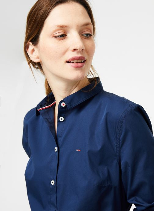 Vêtements Tommy Jeans TJW ORIGINAL STRETCH SHIRT Bleu vue face