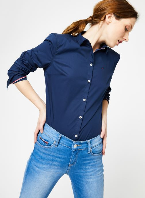 Vêtements Tommy Jeans TJW ORIGINAL STRETCH SHIRT Bleu vue détail/paire