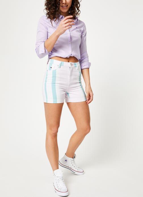 Vêtements Tommy Jeans TJW SLIM FIT POPLIN SHIRT Violet vue bas / vue portée sac