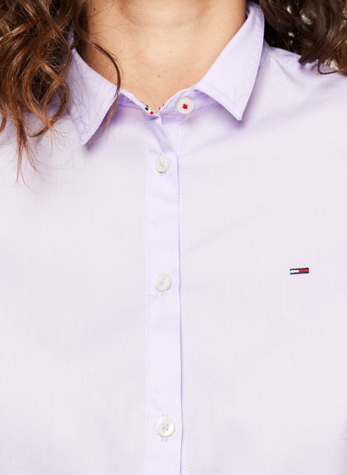 Vêtements Tommy Jeans TJW SLIM FIT POPLIN SHIRT Violet vue face