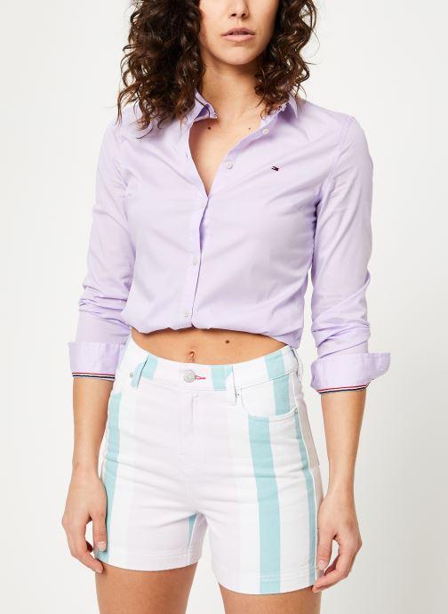 Vêtements Tommy Jeans TJW SLIM FIT POPLIN SHIRT Violet vue droite