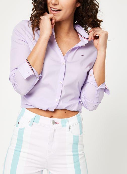 Vêtements Tommy Jeans TJW SLIM FIT POPLIN SHIRT Violet vue détail/paire