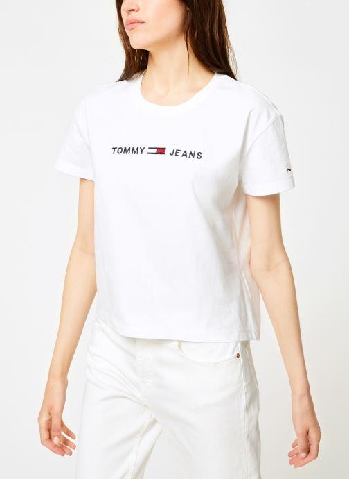 Kleding Tommy Jeans TJW CLEAN LINEAR LOGO TEE Wit rechts